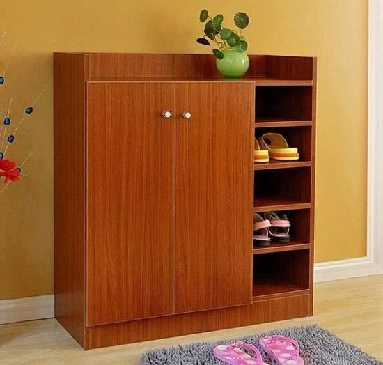 Fashionable Small MDF Shoe Cabinet / Waterproof Wooden Shoe Rack With Doors