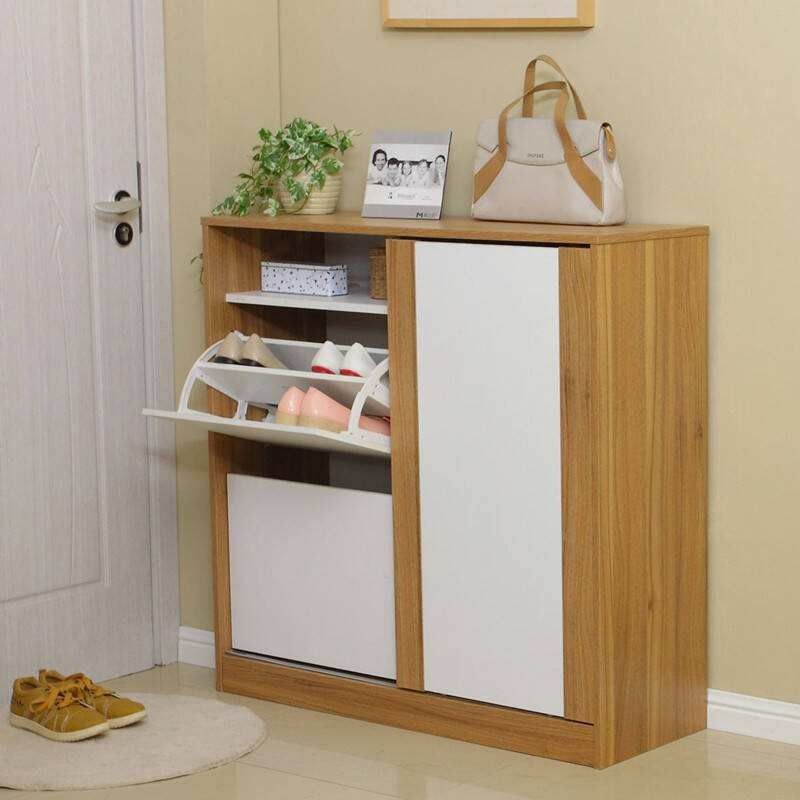 Durable Pine Wooden Shoe Cabinet / Wear Resistant Colored Paulownia Shoe Cabinet